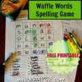 Waffle Words Spelling Game free printable @hsbapost #homeschool