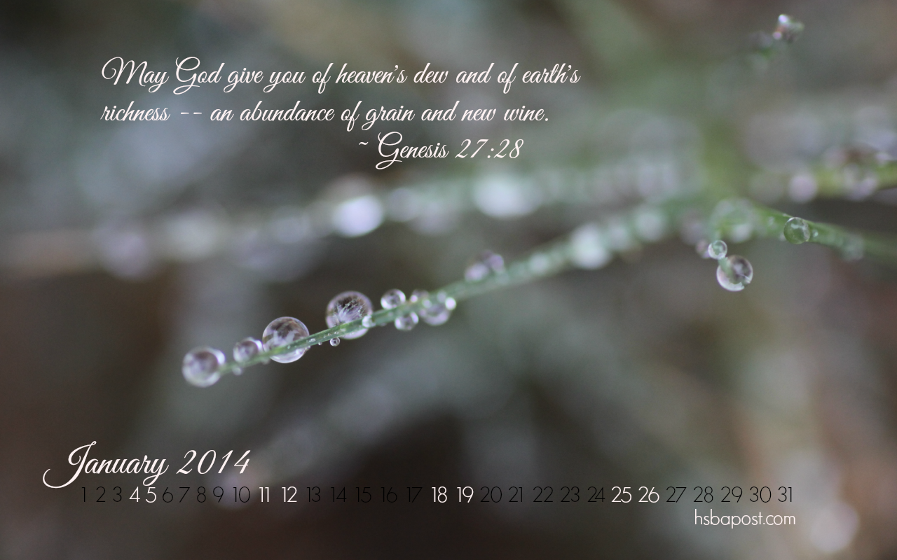 2014 January Desktop Calendar