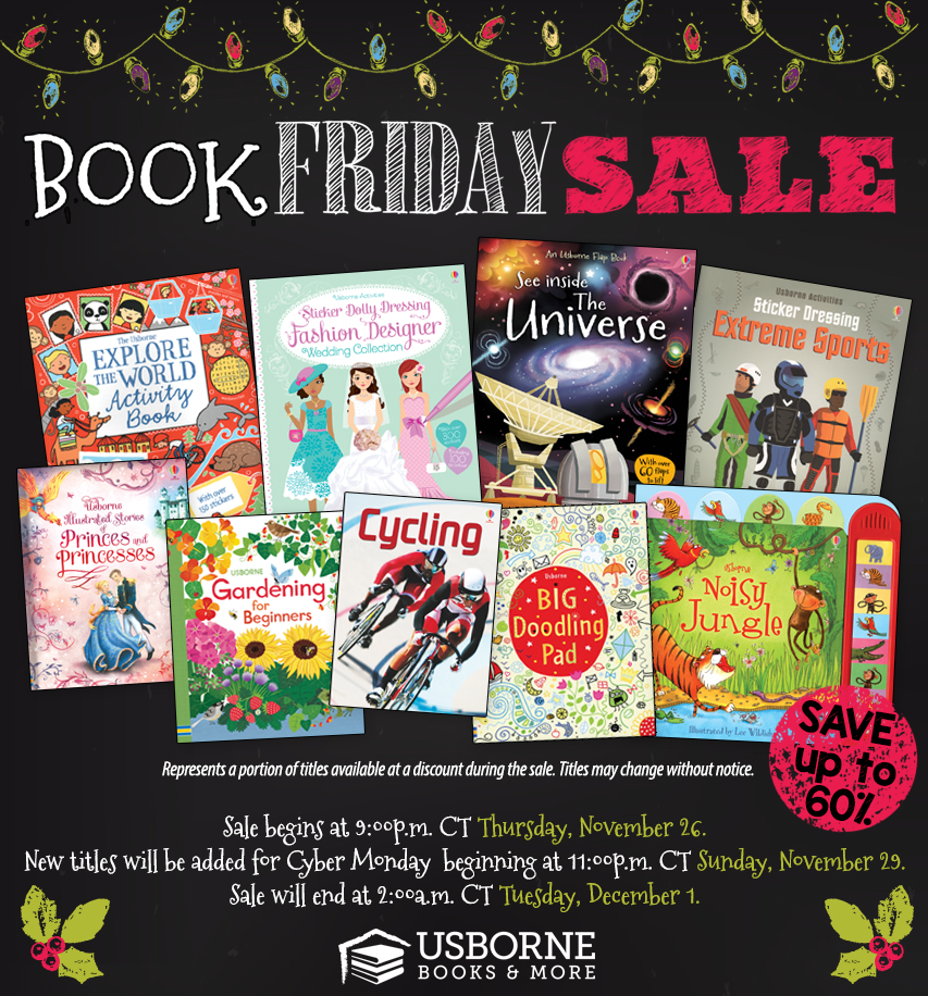 Book Friday to Cyber Monday sale at kidsloveusbornebooks.com