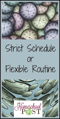 Do you follow a strict schedule or a flexible routine in your homeschool? Here are some of the pros and cons of both. hsbapost.com