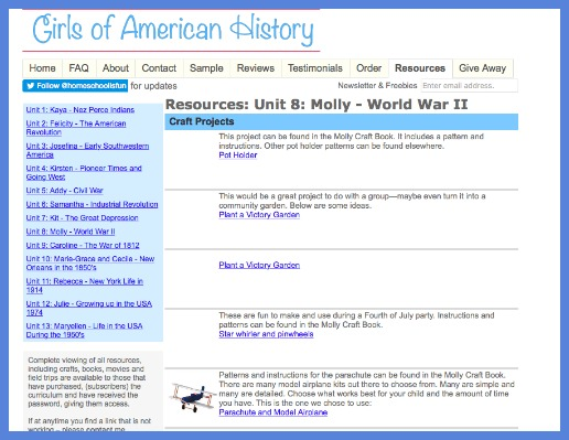 girls of american history resources