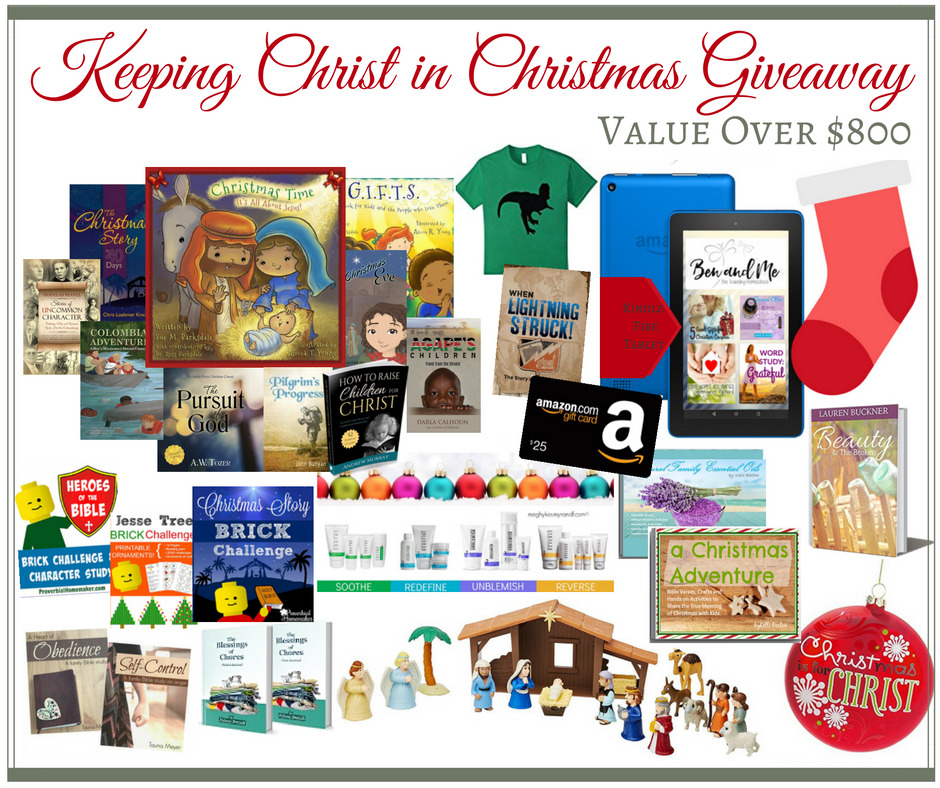 Over $800 worth of Christmas gifts and resources in this giveaway! Keeping Christ in Christmas giveaway. hsbapost.com