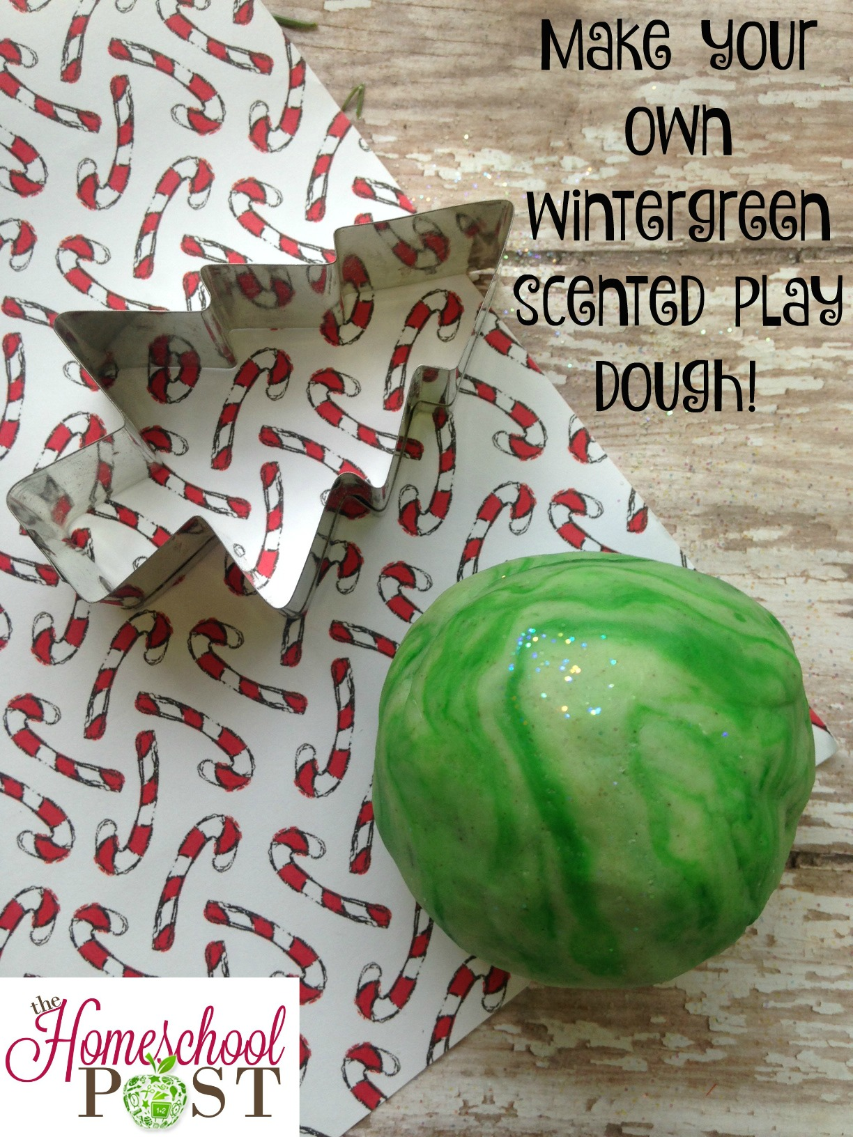 Make your own DIY wintergreen play dough! Perfect winter indoor project. hsbapost.com