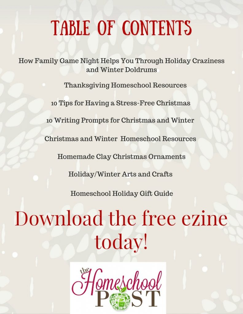 Free Homeschooling through the Holidays ezine at The Homeschool Post! Download yours today!