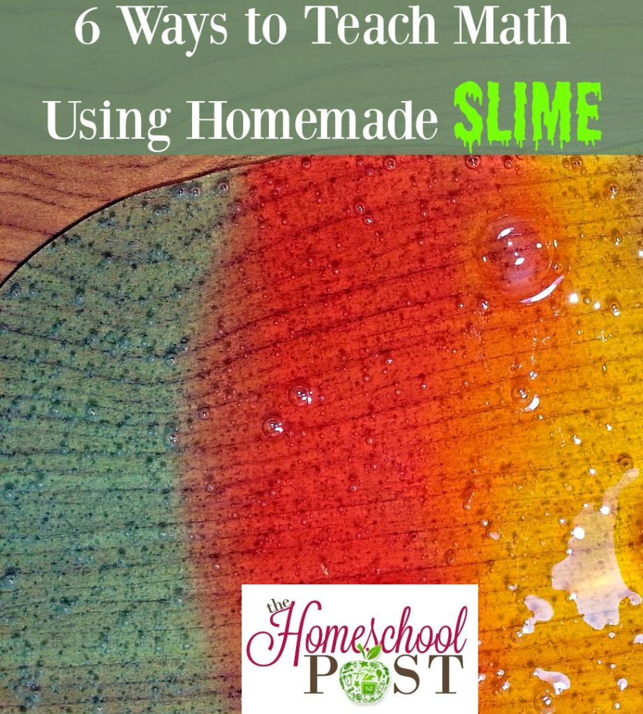 Homeschool math ideas to use with homemade slime! Fun learning activities with slime. Math activities with slime.