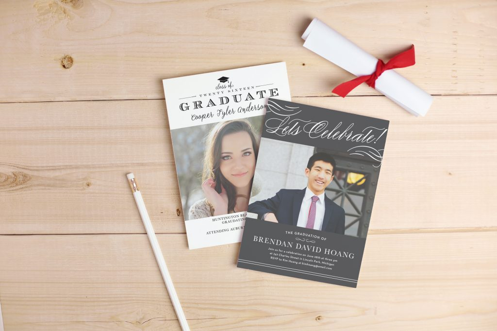 Basic Invite stationery. Basic Invite graduation announcements.